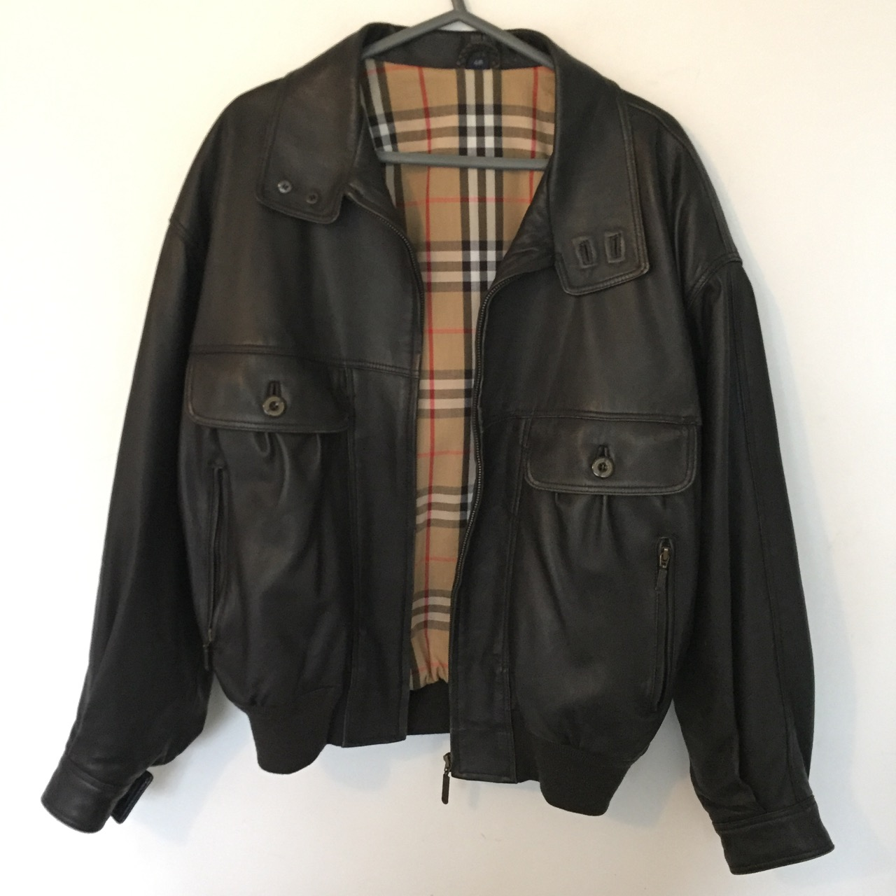 d873d177a Genuine Leather Brown Burberry Bomber Jacket