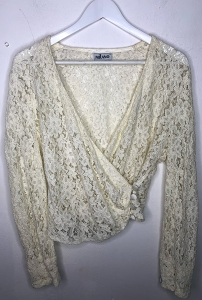 Statement Wrap Over Lace Blouse