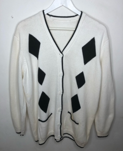 Low V White Diamond Cardigan
