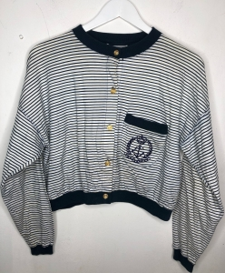 90s New Look Collarless Sailor Top